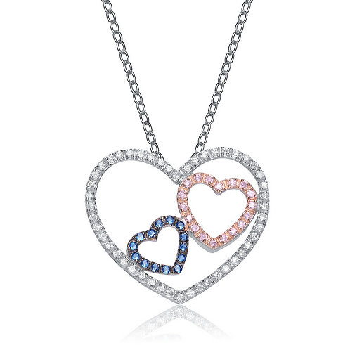 Sterling Silver Triple Open Heart Necklace CSN-PEN367-S-P