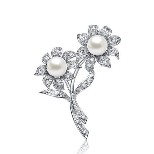 Sterling Silver Pearl Flowers Pin P- PIN146