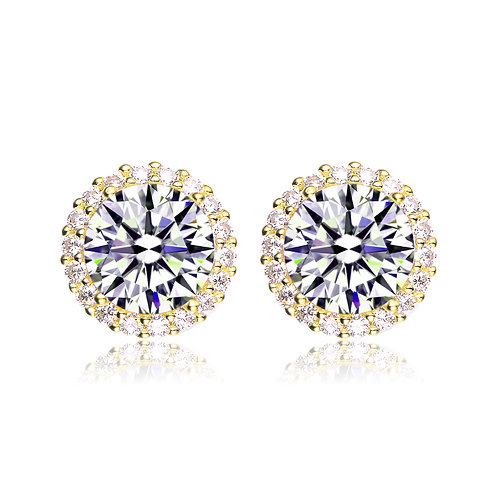 Yellow Toned 6.00ctw Halo Style Stud Earrings TCE- BEAR3046-GP