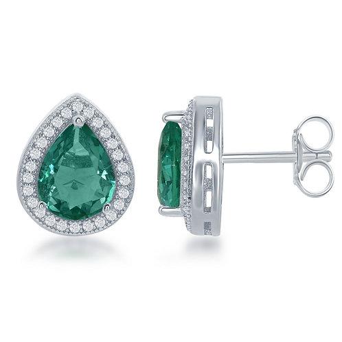 Sterling Silver Teardrop Simulated Emerald Earrings CL-D-6311