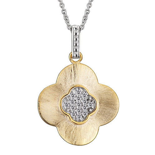 Sterling Silver Gold Plated Hammered Flower Shape Drop Pendant CSN-PEN5211
