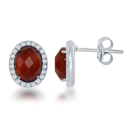 Sterling Silver Oval Red Carnelian Stud Earrings CL-D-6190