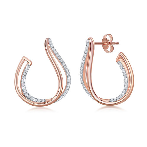 Sterling Silver Rose Gold Micro Pave J-Design Earrings CSE-D-6998