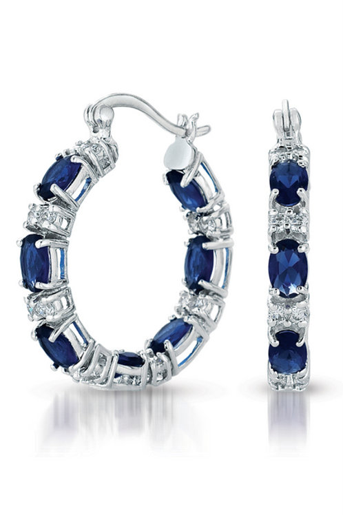 Sterling Silver Simulated Sapphire/White Alternating Hoop Earring TCE-EAR2026-S