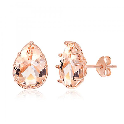 Rose Gold Plated Eight-Prong Pear-Shaped Morganite Stud Earrings TCE-D-6926
