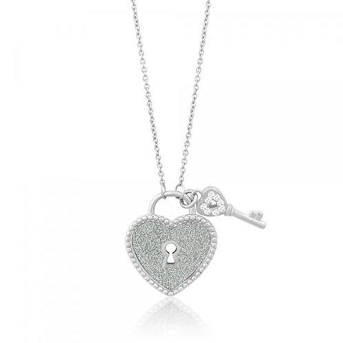 HEART LOCK & CRYSTAL KEY NECKLACE M-4748