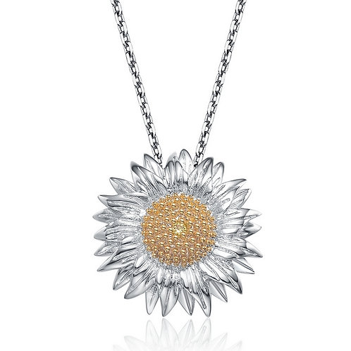 Sterling Silver Rhodium Plated Sunflower Pendant CSN-PEN1238