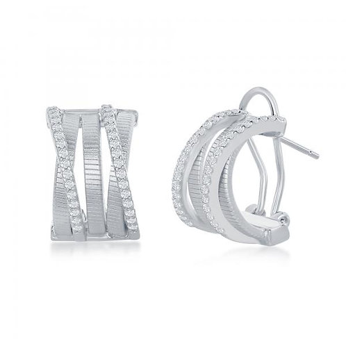 Sterling/Platinum Plated Cable Designed Earrings TCE-D-6981