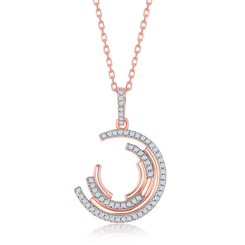 Sterling Silver Semi-Circle Pendant - Rose Toned CSN-K-8337