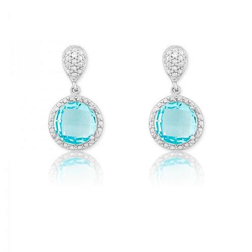 DIAMOND AND ROUND BLUE TOPAZ EAR. D-5114-BT