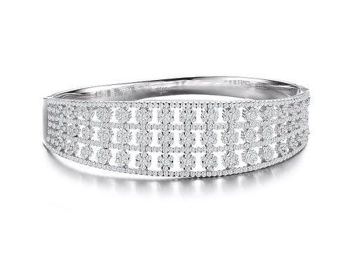 Sterling Silver with Rhodium Plated Flower Style Bangle TB-BR3259