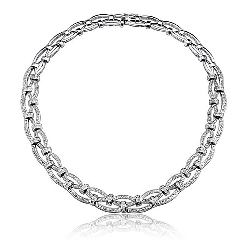C.Z. Sterling Silver Rhodium Plated Braided Necklace NEC654