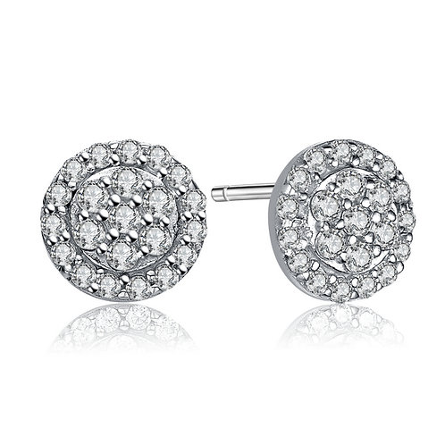 Stunning 1.25ctw Cluster Halo Style Stud Earrings TCE- EAR2175