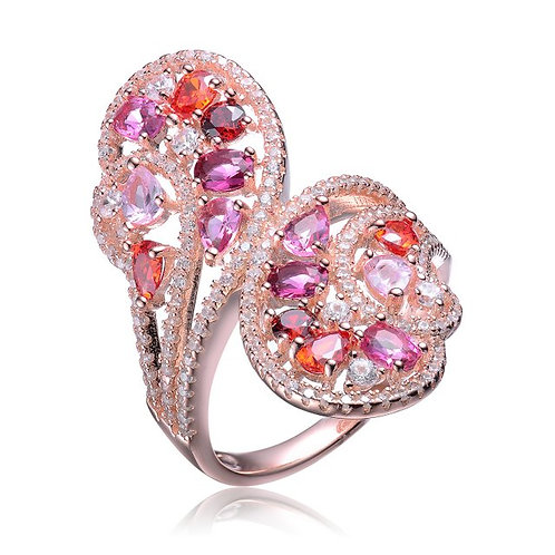 Sterling Silver with Rose Gold Plated Variant Red Multi Shaped Ring CSR-R9939-R