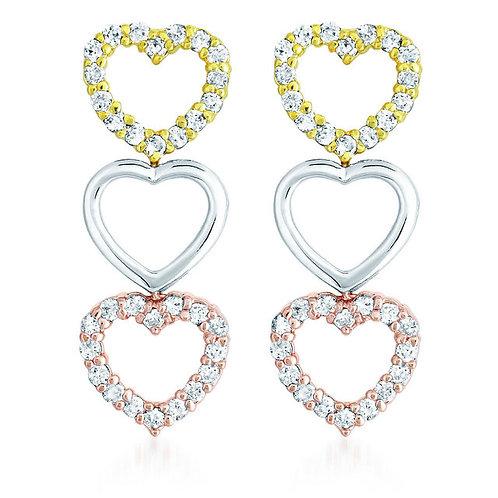 Sterling Silver Tri Color Heart Shape Drop Earrings CSE-EAR1248-TRI