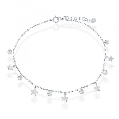 Sterling Silver/Rhodium Plated Star/Disc Anklet ANK-R-9199