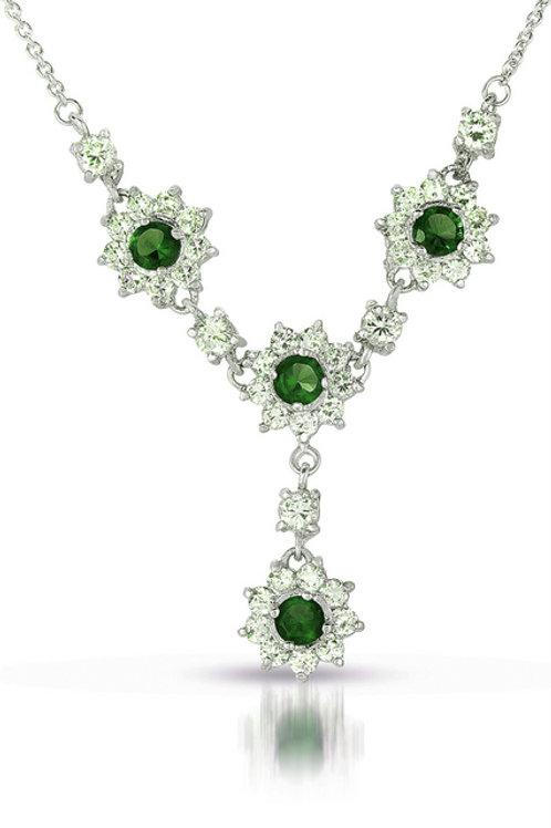 Sterling Silver Platinum Plated Emerald Colored Sunburst Necklace TN-NEC1984-E