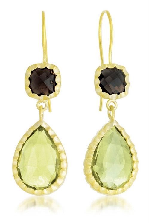 Sterling Silver Gold Plated Lemon And Smokey Quartz Drop Earrings CSE-GE1450-SQ