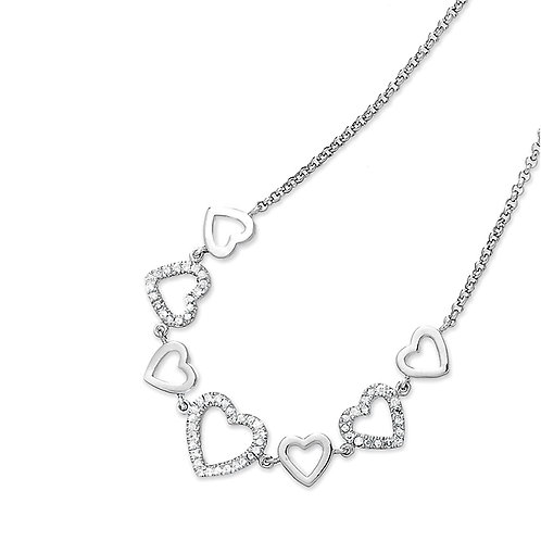 CZ HEART NECKLACE WITH PAVE STONES M-3670