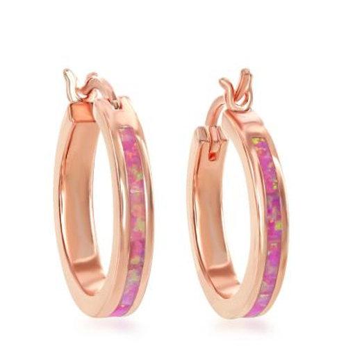 Sterling Silver RG Pink Inlay Opal Hoop Earrings CSE-D-6748