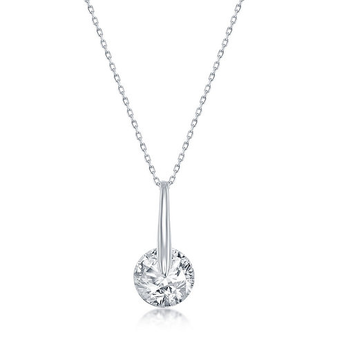Sterling Silver Round Solitaire Necklace TCN-M-6267