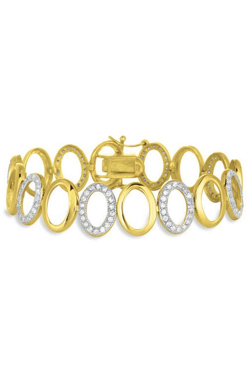 2 Tone Oval Link Bracelet TCSE-BR1300-GP
