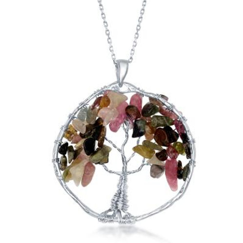 Sterling Silver Tourmaline Beads Tree of Life Pendant CSN-K-7904