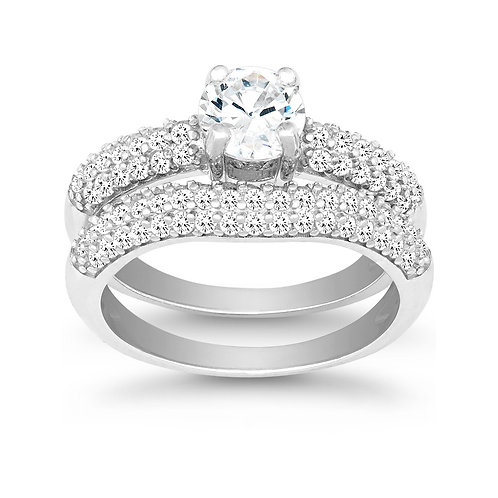 Sterling Silver Pave` Style Engagement Ring Set TR-W-9897
