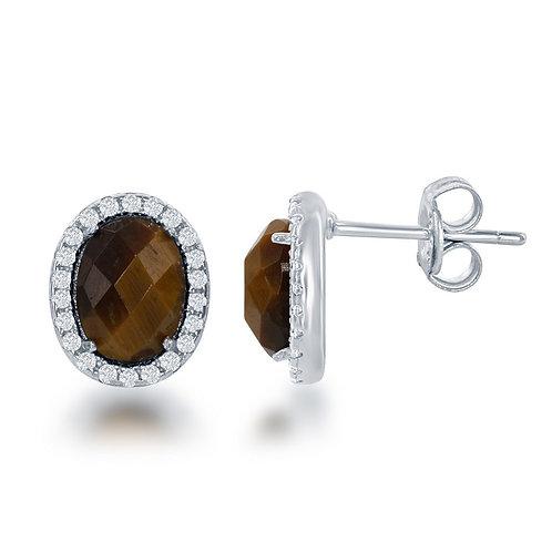 Sterling Silver Oval Brown Tiger Eye Stud Earrings CL-D-6189
