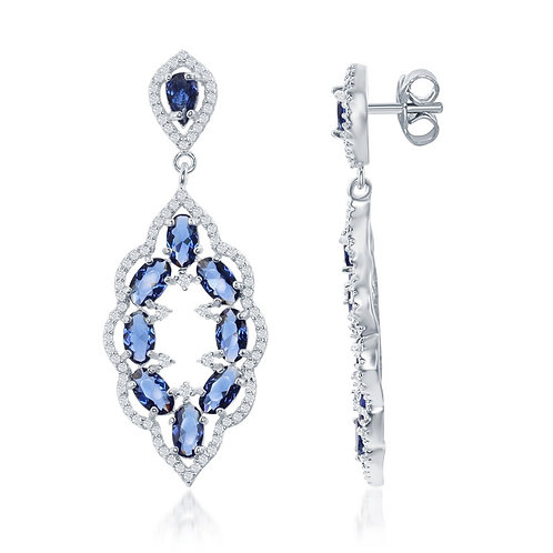 Silver Open Style Marquise Blue Sapphire and White TE-D-6256