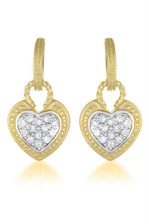 Sterling Silver Gold Plated Heart Shape Drop Earrings CS-EAR1340