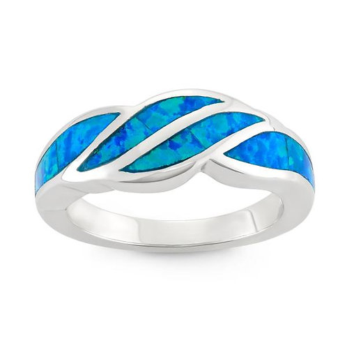 BLUE INLAY OPAL WAVE DESIGN RING W-9917