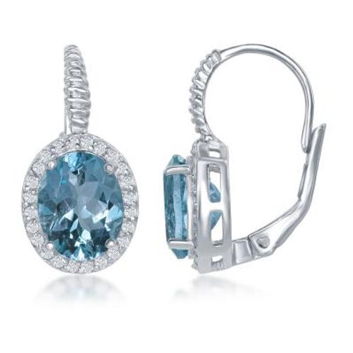 Sterling Silver Oval Blue Topaz with White Topaz Border Earrings TCE-D-6619