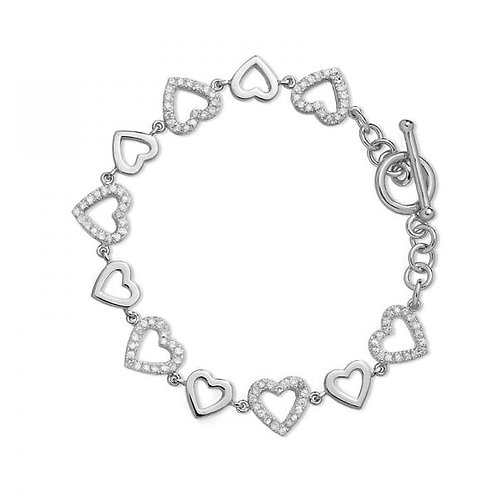 HEART LINK BRACELET WITH PAVE STONES CSB-T-5502