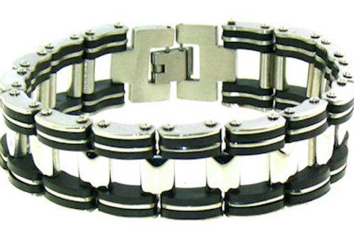 "8.5"" Stainless Steel Black Bracelet MB-WS0002BRJ"