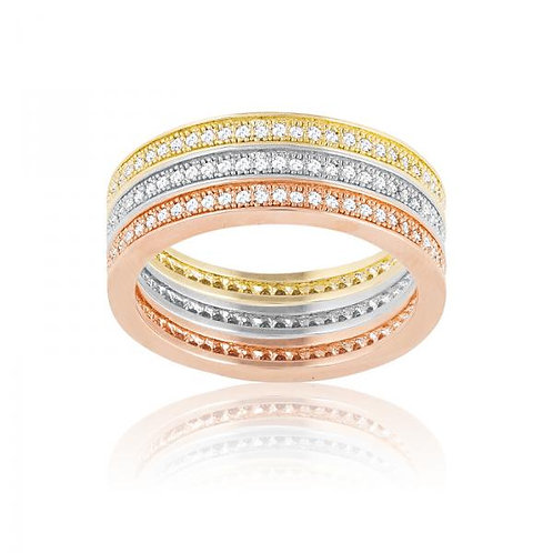 MICRO PAVE RING 3 Tone Stackable rings W-9467