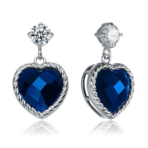 Sterling Silver /Platinum Plated Sapphire Style Heart Earrings TCE-EAR5793-S