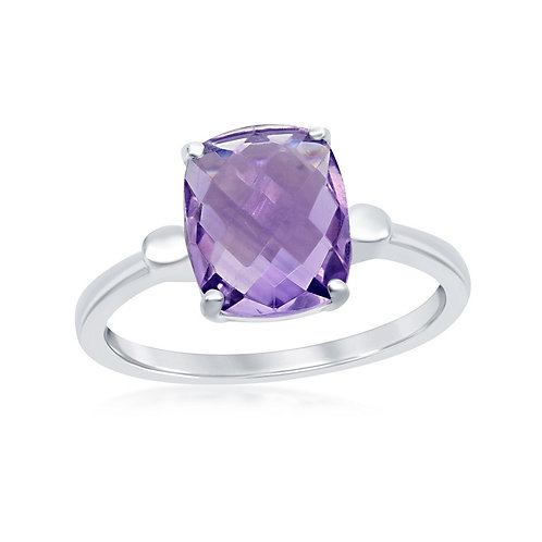 Sterling Silver Four-Prong Checkered 0.67cttw Amethyst Ring CR-W-2146