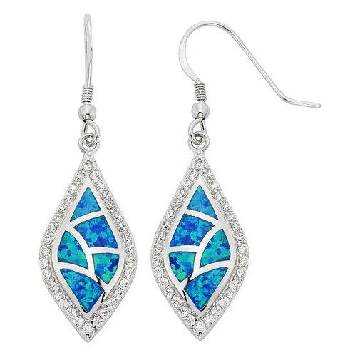 Fire Opal Halo Style Drop Earrings CSE-D-3819