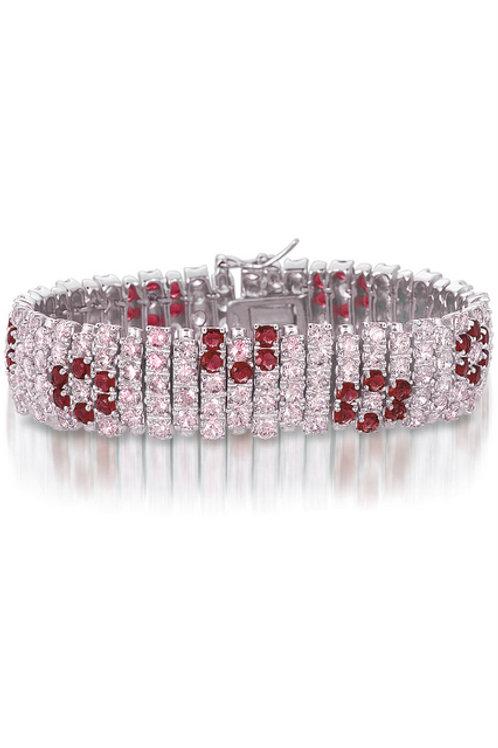 Sterling Silver Red Floral Fashion Bracelet BR2073-1-R