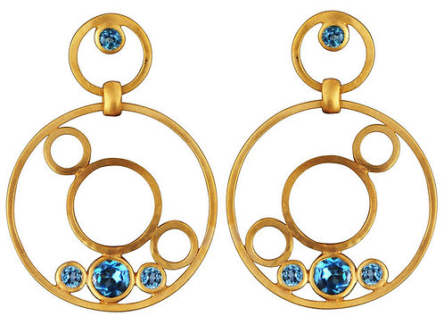 Sterling Silver Gold Plated Blue Topaz Round Drop Earrings CSE-GE4700