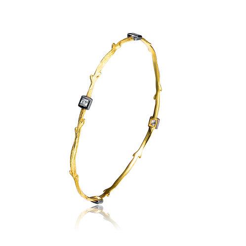 Brushed Gold Toned Bangle with BlackRhodium Bezel Set Stones BR9408
