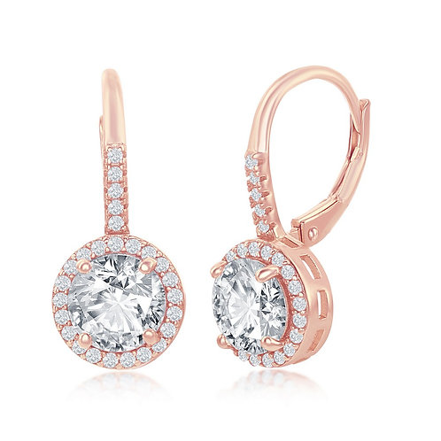 Sterling Silver Rose Gold Plated Round Halo Earrings TCE-D-7247-RG