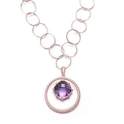Sterling Silver Rose Plated Amethyst Stone Necklace CSN-GN2480-A
