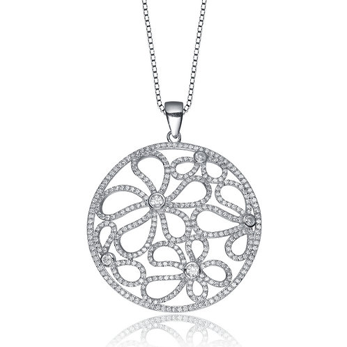 Sterling Silver Open Flower Pave Pendant Necklace CSN-PEN9288