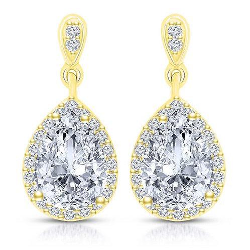 Stunning Serling Silver / Gold Plated Tear Drop Earrings TE-EAR6041-GP