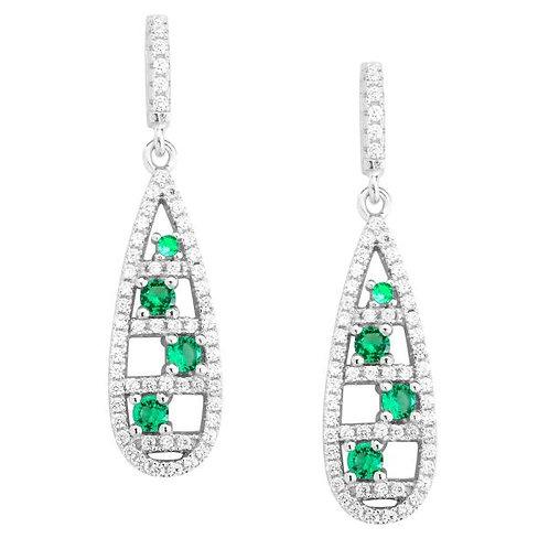 Sterling Silver Tear Drop Emerald Style Earrings TSE-D-5455