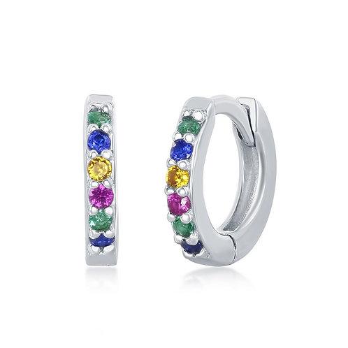 Sterling Silver Rainbow Small Huggie Hoop Earrings CL-D-7132