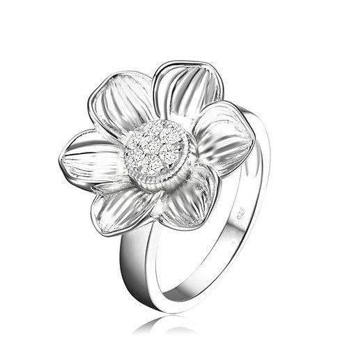Sterling Silver Matt Finish Flower Design Ring CSR-R2514