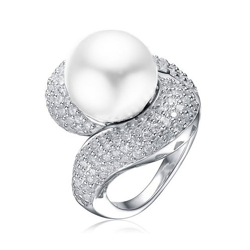 Sterling Silver with Rhodium Plated Twisted Micro Pave` Pearl Ring TCSR-R0281